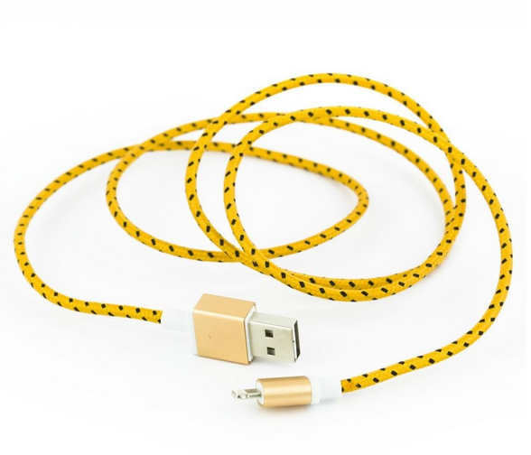 wrapped iphone charger cord