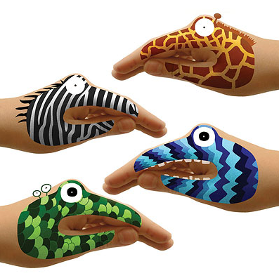 animal and monster hand tattoo set for kids