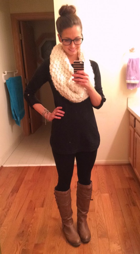black and brown outfit with infinity scarf