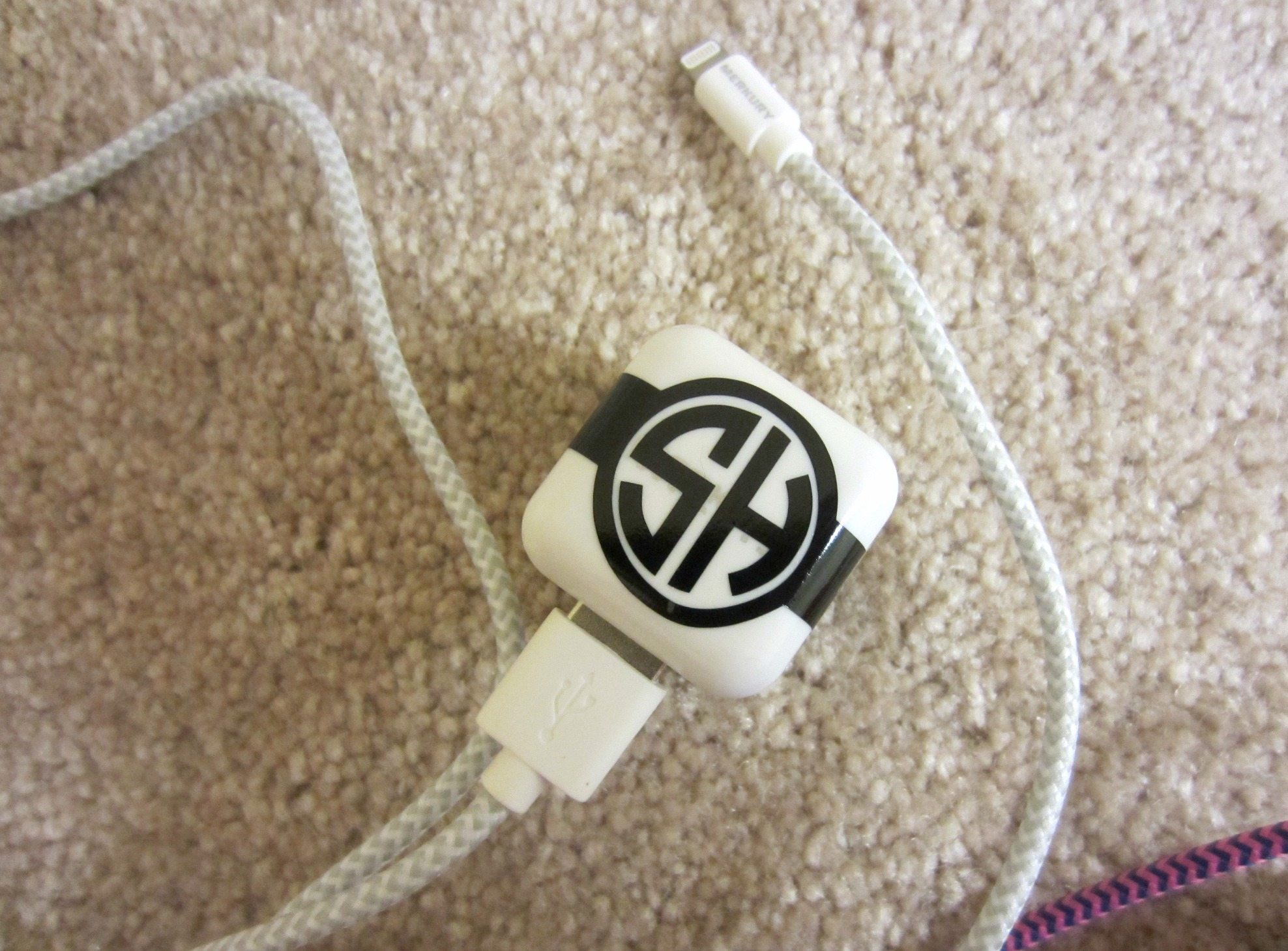 custom monogram iphone charger decal