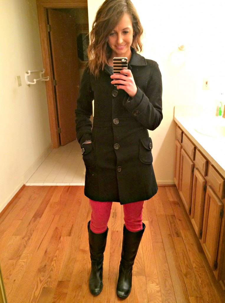 fashion pea coat and red skinny jeans
