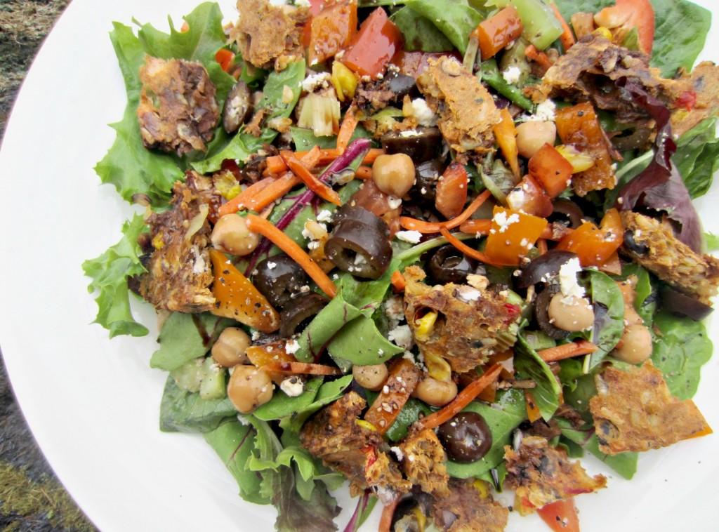 healthy salad with black bean gardenburger