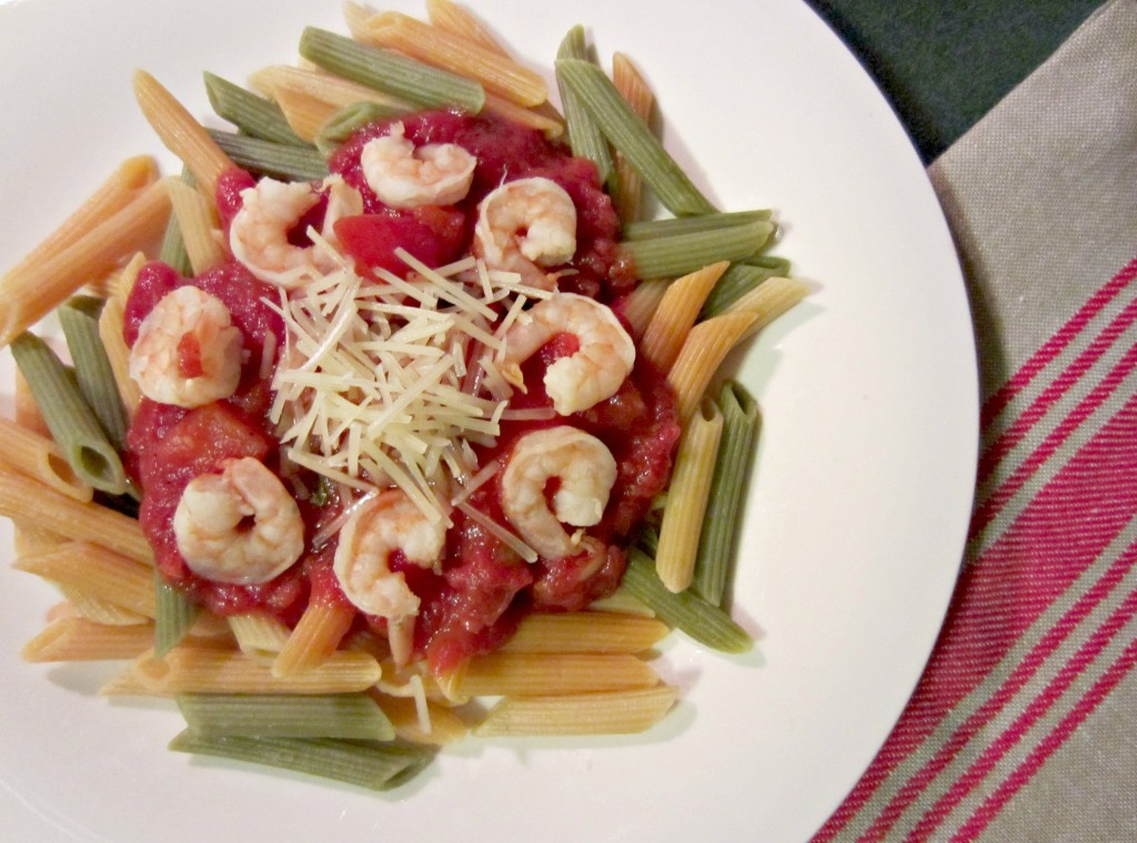 vegetable pasta with shrimp