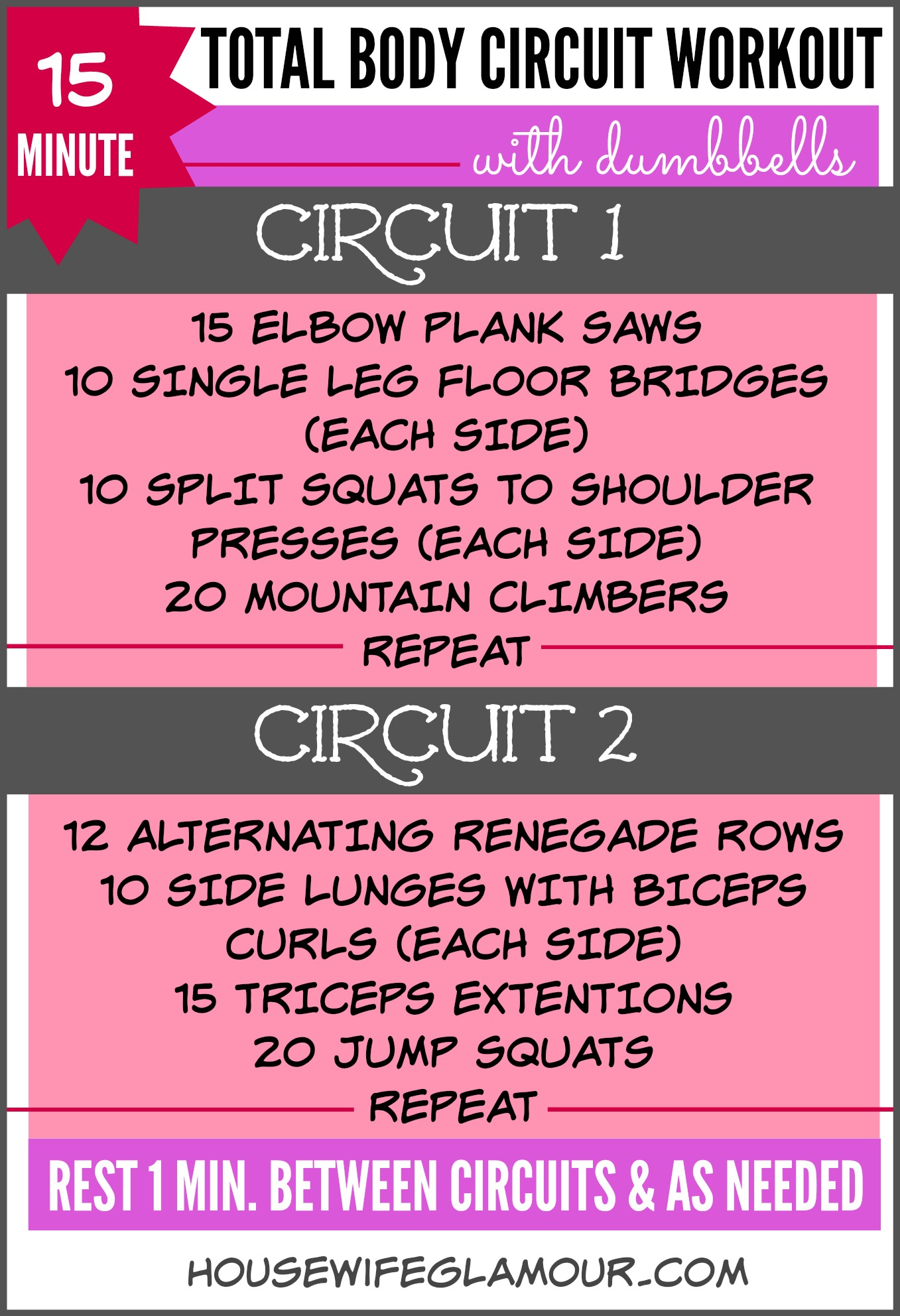 15 minute total body circuit dumbbell workout