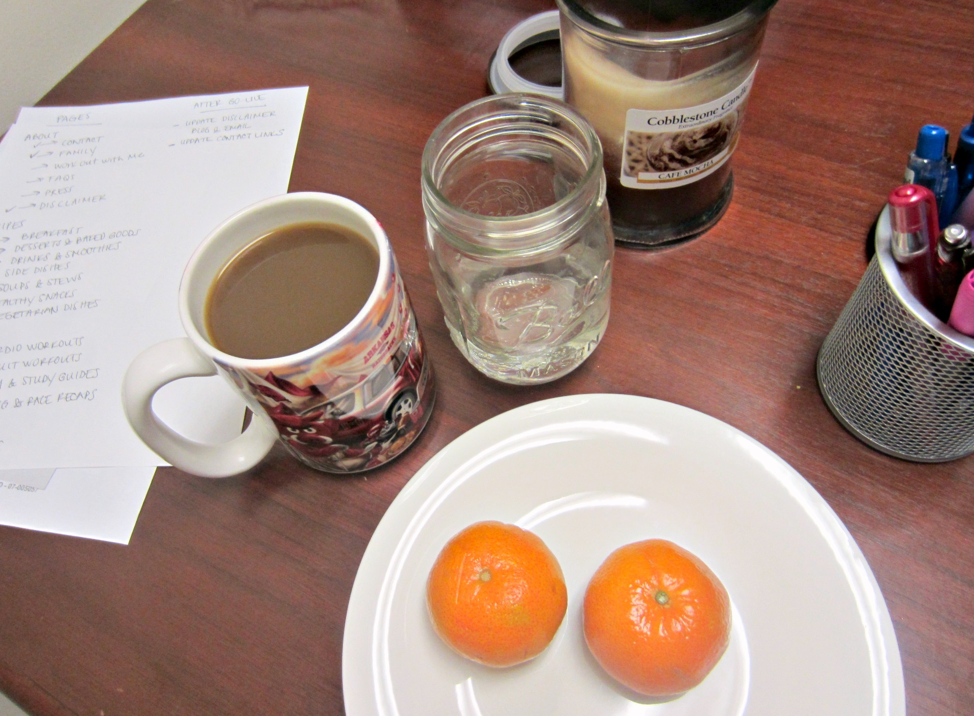 clementines for snack with coffee