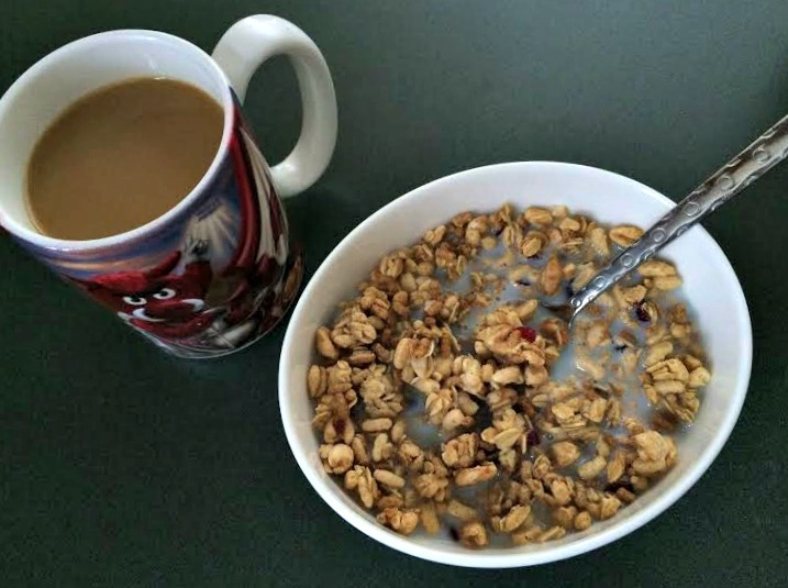 fiber one protein cereal and coffee