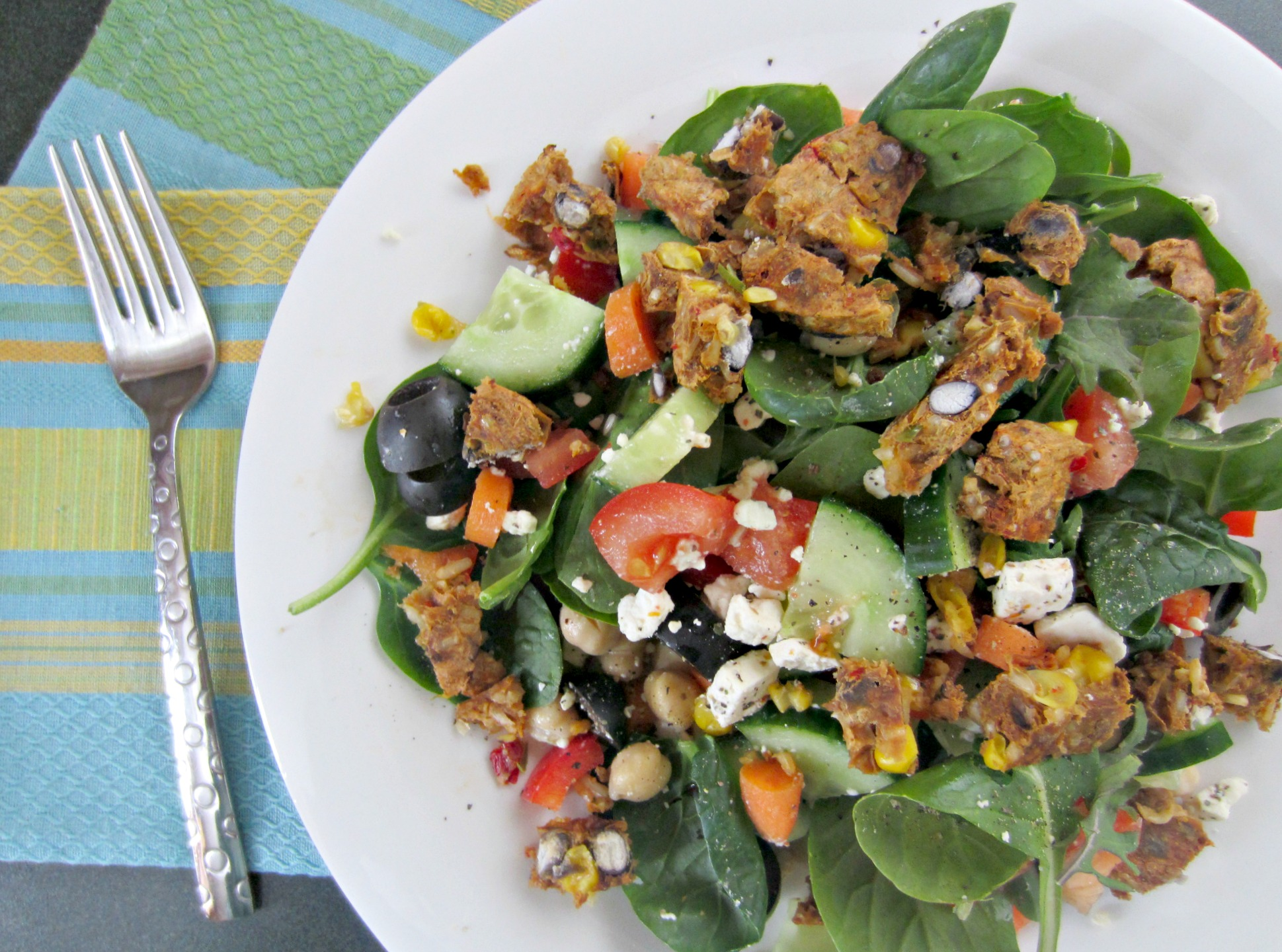 monster salad with veggies and garden black bean burger