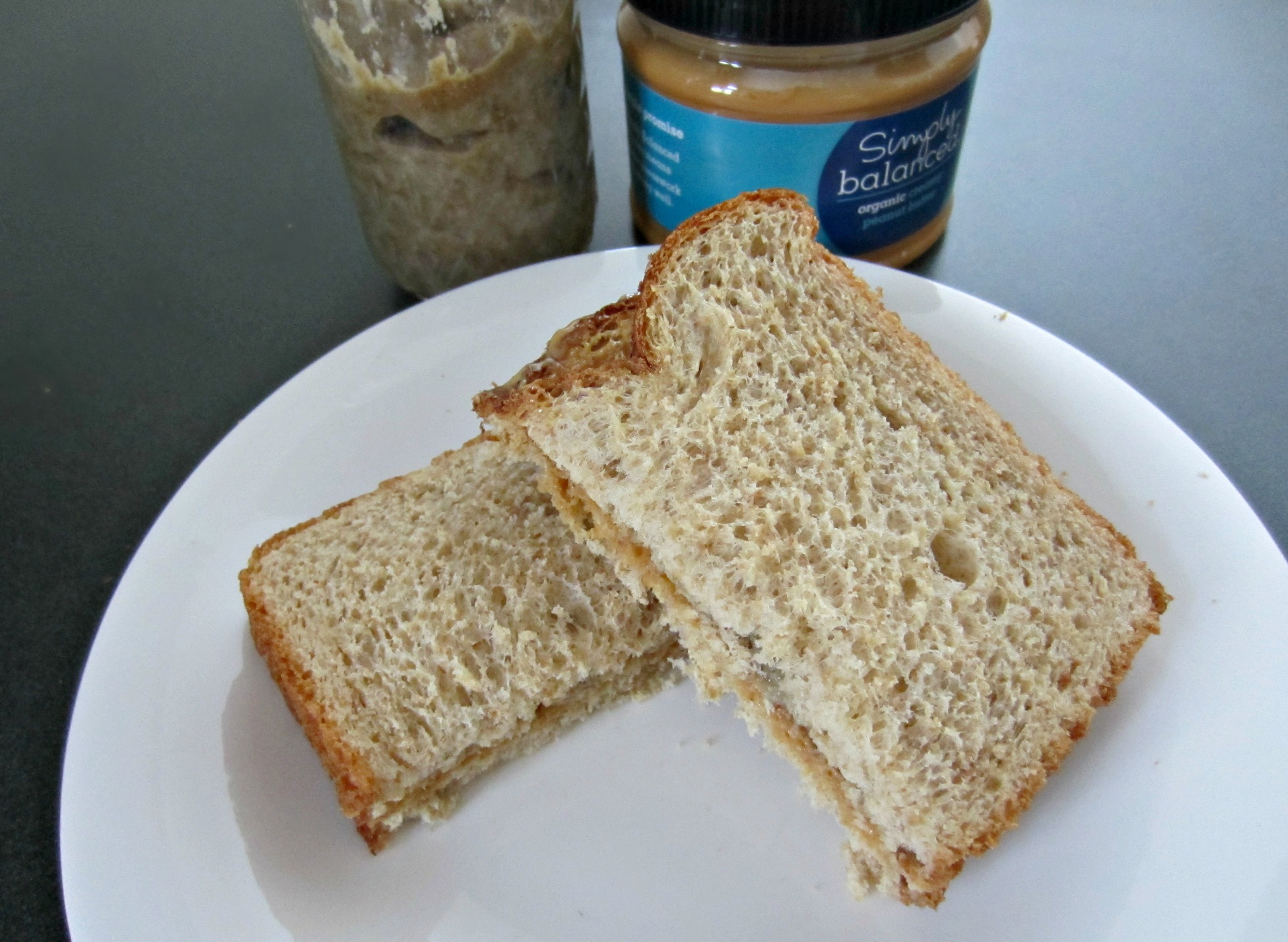 peanut butter and chia jam sandwich