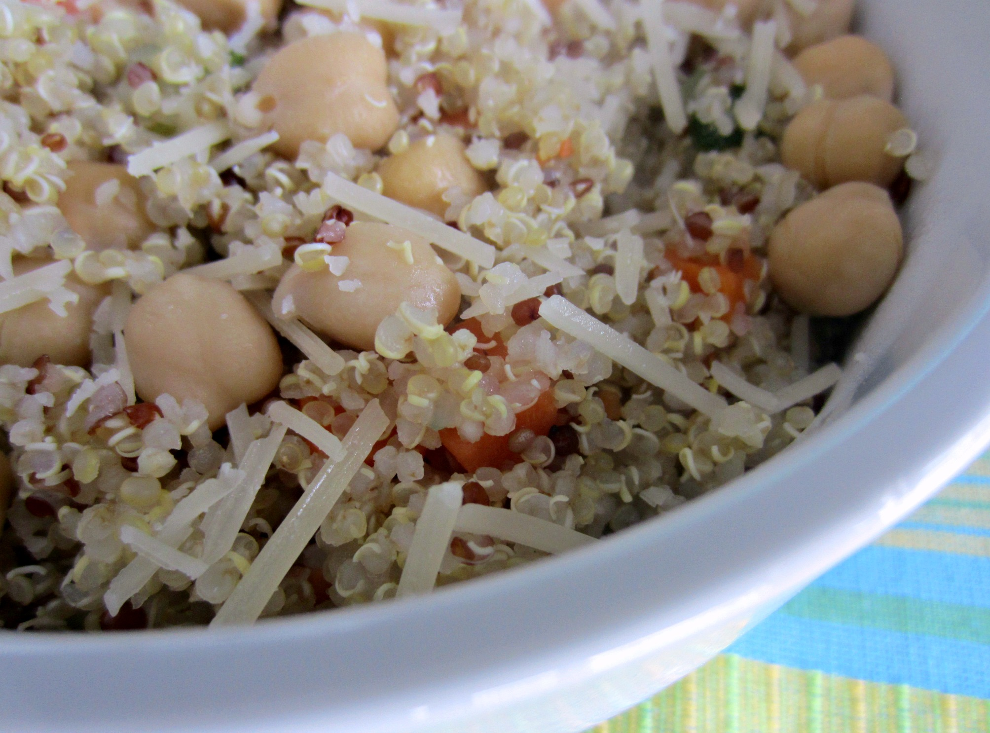 vegeable quinoa with garbanzo beans and cheese