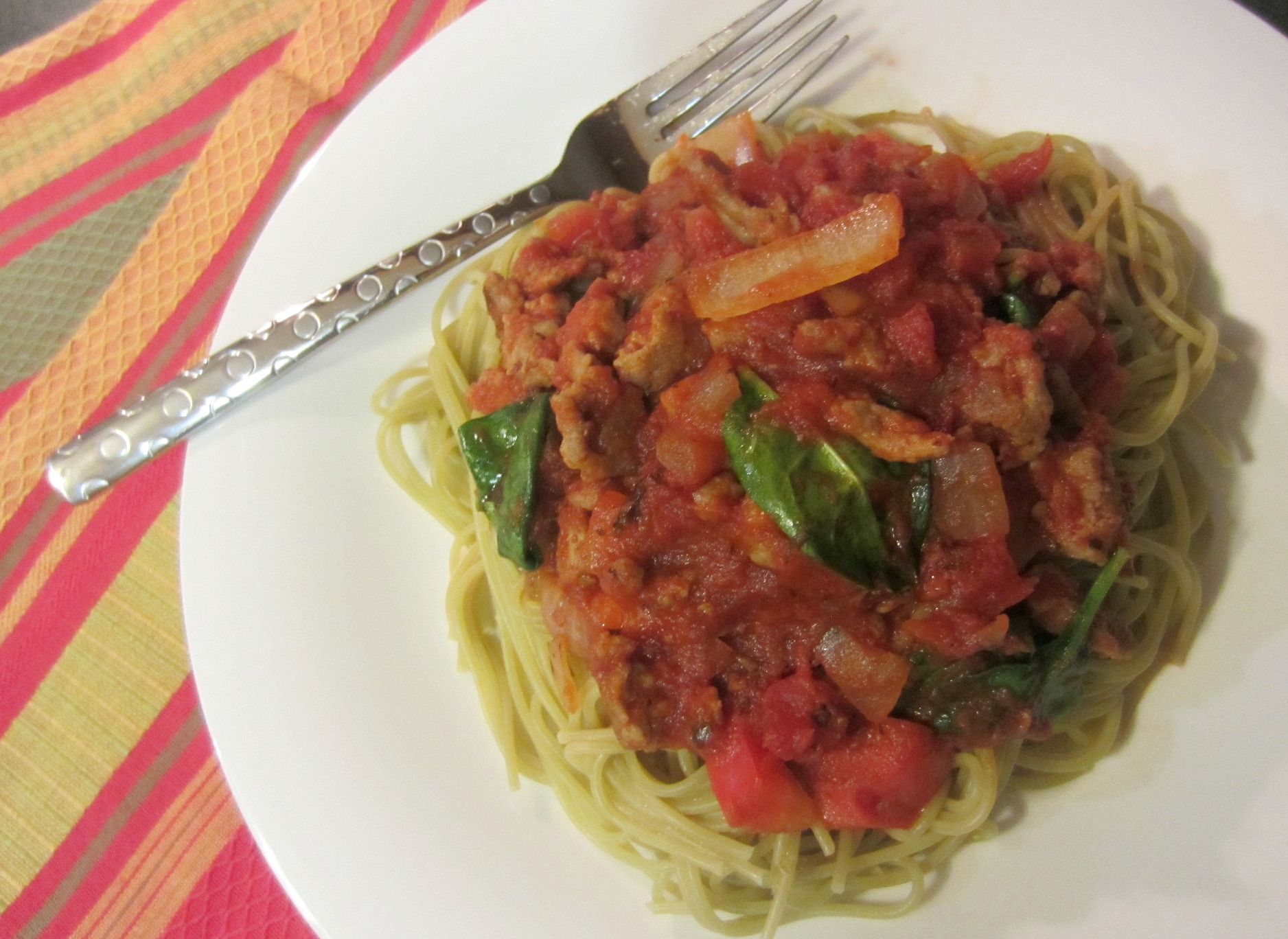 vegetable spaghetti with turkey meat sauce